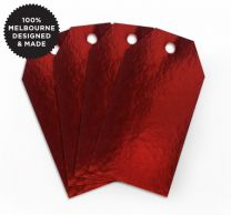 10 METALLIC RED TAGS