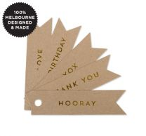 10 CELEBRATE GOLD FLAG TAGS ON KRAFT