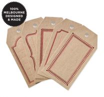 5 RED MESSAGE KRAFT TAGS