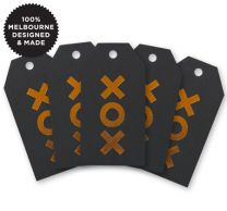5 XOX COPPER ON BLACK TAGS