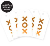 5 XOX COPPER ON WHITE TAGS